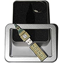 Souvenir London | Geschenkidee: USB-Stick mit Schlüsselanhänger in Form Big Ben für Frauen & Männer | inklusive Fotogalerie von Londoner Sehenswürdigkeiten | Memory Stick 8 GB | CultourStix
