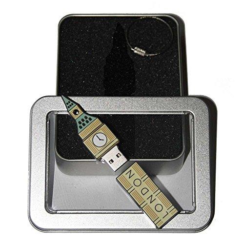 Souvenir London   Geschenkidee: USB-Stick mit Schlüsselanhänger in Form Big Ben für Frauen & Männer   inklusive Fotogalerie von Londoner Sehenswürdigkeiten   Memory Stick 16 GB   CultourStix