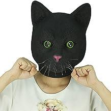 Cusfull Máscara de Llátex Cabeza Animal Gato Negro Disfraces Halloween Fiesta de Navidad