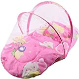#3: Classic Baby Bedding Set With Foldable Mattress, Mosquito Net And Pillow (Pink)