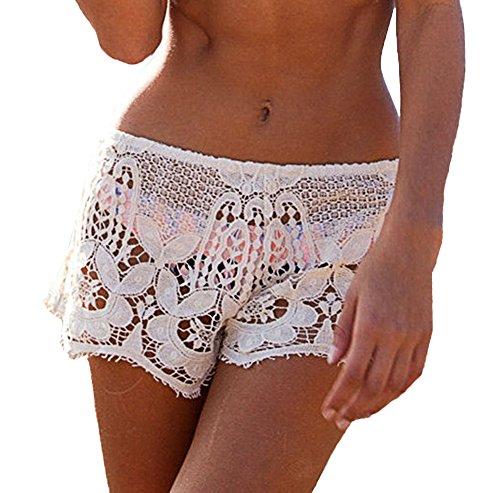 Scothen Damen Hot Pants Frauen hohen Taille Spitze Shorts Sommer-beiläufige kurze Hosen Frauen Blumen Bedruckte Shorts Hot Pants Sexy Sommer Strand Kurzschluss Hosen Weiß