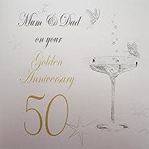 "White Cotton Cards ""a mamma e papà on your Golden Anniversary"" ""50th anniversary card"