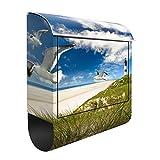 Design Briefkasten Dune Breeze | Ozean Nordsee Möwen Leuchtturm, Postkasten mit Zeitungsrolle, Wandbriefkasten, Mailbox, Letterbox, Briefkastenanlage, Dekorfolie