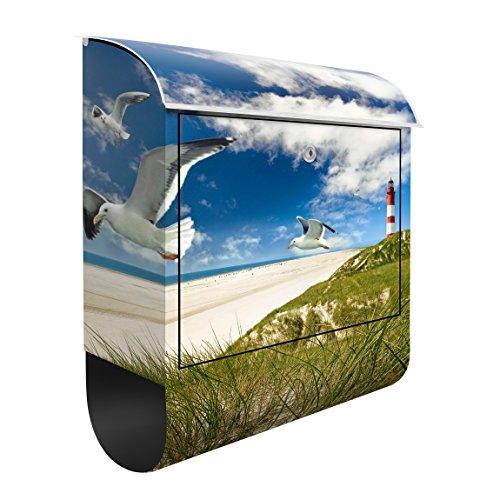 Design Briefkasten Dune Breeze   Ozean Nordsee Möwen Leuchtturm, Postkasten mit Zeitungsrolle, Wandbriefkasten, Mailbox, Letterbox, Briefkastenanlage, Dekorfolie