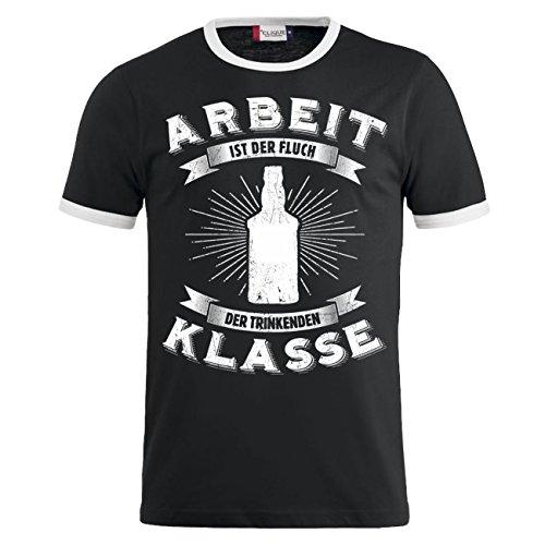 Männer und Herren T-Shirt Arbeit ist der Fluch der trinkenden Klasse Schwarz/Weiß