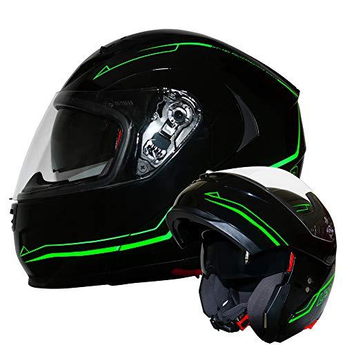 Leopard LEO-838 Safari Fullface Helm Klapphelm Jethelme Motorrad Roller mit Doppelvisier Motorradhelm Damen und Herren Integralhelm ECE Genehmigt Glanz Schwarz/Grün S (55-56cm)