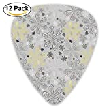 Indian Bohem Style Paisley Print Flowers Dots Art Guitar Picks 12/Pack Set