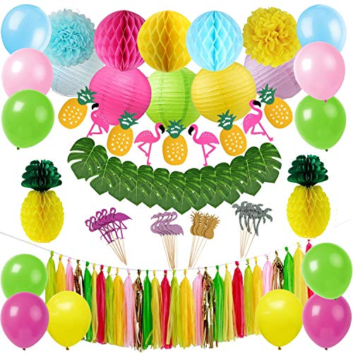 Tropische rosa Flamingo Luau Hawaiian Partydekorationen Kit Tropische Blätter Flamingo Banner Honeycomb Ananas Ball für Dschungel Beach Pool Moana Thema Sommer Geburtstag Baby Shower Party Supplies - Papier Hibiskus-blumen