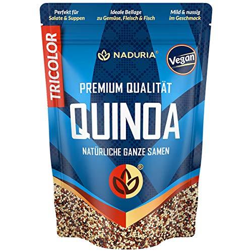 Naduria Premium Quinoa Samen (Tricolor)   2000g (4 x 500g)   Schwarz, rot & weiße Samen   Reichhaltige Ballaststoffe   Quellen von Proteinen   Ideale Alternative zu Reis   Vegan