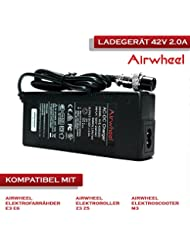AIRWHEEL Cargador de batería 42V 2.0A para S de bicicletas, E de scooters, placas scate E de rollers, E y todos los 42V de ion de litio recargables