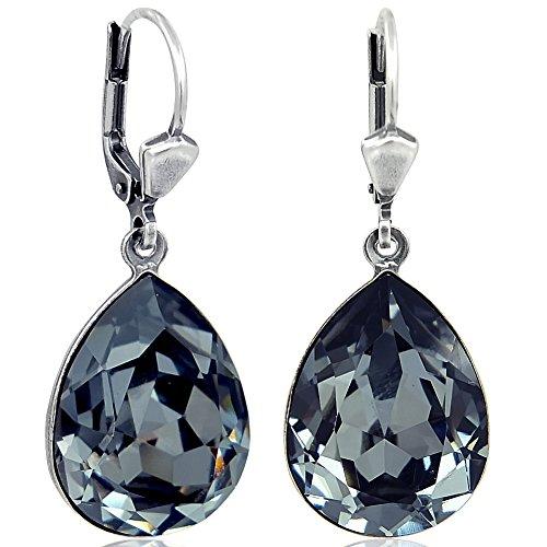 Ohrringe mit Kristallen von Swarovski® Schwarz Grau Silber Tropfen NOBEL SCHMUCK -