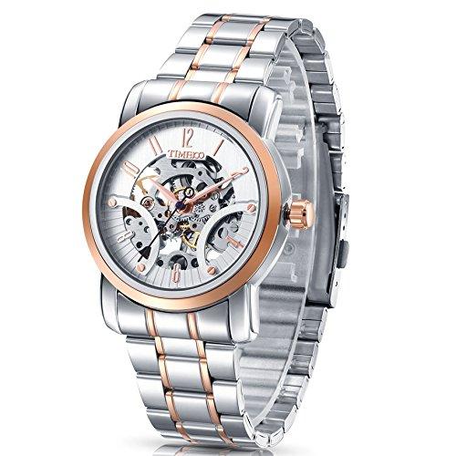 cc078d18a83a Time100 moderno automático para hombre correa de acero inoxidable esqueleto  reloj mecánico