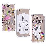 E-Mandala Apple iPhone 5 5S SE Hülle Ultra Dünn Slim Durchsichtig Silikon Schutzhülle Handy Tasche Etui Handyhülle Transparent mit Muster - Einhorn Katze Flamingo Unicorn