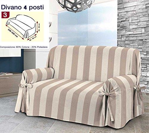 Centesimo Web Shop COPRIDIVANO 4 POSTI Jacquard con Laccetti Righe Rigato Classico Beige Quattro POSTI Jacquard -