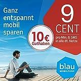 Blau Prepaid SIM-Karte inklusive 10 Euro Startguthaben, 9 Cent pro Min./SMS in alle dt. Netze, 25 Euro für Handynummern-Mitnahme