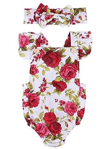 Neugeborene Baby Girls Kleider Red Flower Spielanzug Overall Bodysuit +