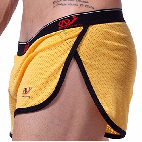 Sexy Atletico Tronchi Palestra Scatole Slip Pantaloncini Mens Sport Tronchi Biancheria Intima Giallo