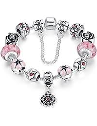 Presentski amor seguro cadena de plata plateada pulsera de encanto Rosa cúbicos zirconia Flor Lampwork Bead