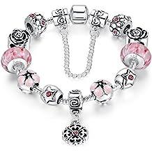 c11593620bb3 Cadena de Plata Wowl Amor Segura plateó la pulsera Pink Cubic Zirconia flor  de Lampwork granos