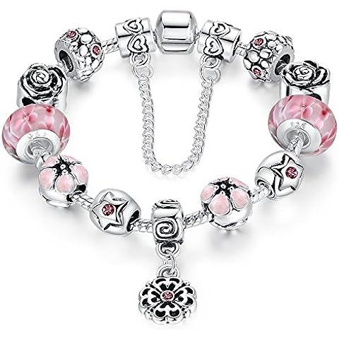 Cadena de Plata Wowl Amor Segura plateó la pulsera Pink Cubic Zirconia flor de Lampwork granos del encanto de las
