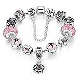 Wowl amor del corazón Segura cadena plateada plata del encanto de las pulseras rosadas de la flor...