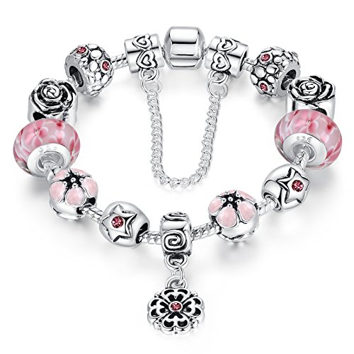 Presentski Charm Bracelet tema Ocean Beach, con perline fascini Dolphin Starfish tartaruga Seashell