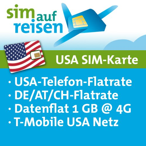 USA Prepaid SIM-Karte T-Mobile Netz – Daten-Flat (1 GB @ 4G), USA-Flat, DE/AT/CH-Flat (Festnetz) (Tmobile Sim Iphone 4)
