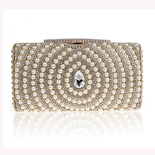 Le nuove borse di diamante della moda perline pochette sposa sacchetto di banchetto borsa da sera ( Colore : Silver ) Oro