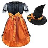 ZOEREA Mädchen Kinder Hexe Kostüm Zubehör Fairy Halloween Cosplay Partei Abendkleid Halloween Kostüm schwarz orange (3-11 Jahre alt)