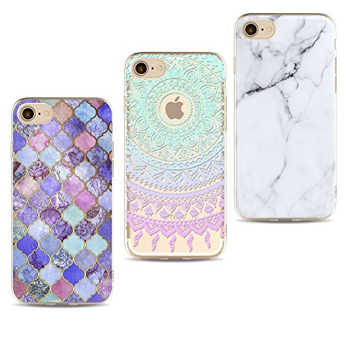 iLiebe iPhone 8 Hülle,iPhone 7 Schutzhülle, [3 Packs] Crystal Clear Ultra Dünn Durchsichtige Silikon Schutzhülle TPU Kratzfest Kreative Motiv Muster Clear Backcover Schutz für iPhone 8/7