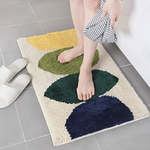 (Yazidan Badematte in vielen Formen Ellipse Muster Rutschfester Badvorleger Premium Badteppich Rutschfest Weich Waschbar Duschvorleger aus Chenille Teppich für Badezimmer Küche Schlafzimmer)