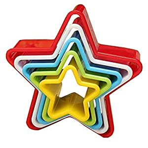 Cookstyle Nested Star Shaped Plastic Cookie Cutters, 5 Pieces, Random Colors
