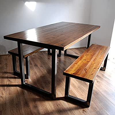 Industrial Rustic Dining Table. Optional Benches. Solid Wood. Metal Tube U Frame Legs. Kitchen Table. Size / Colour / Set Options Available. Handmade in Hampshire.