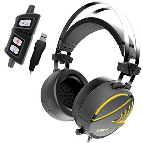 GAMDIAS Gaming Headset mit 7.1 Virtual Surround Sound, 50mm Treiber, USB-Buchse und RGB-Streaming-Beleuchtung (HEBE (Sound Mit Maus Set)