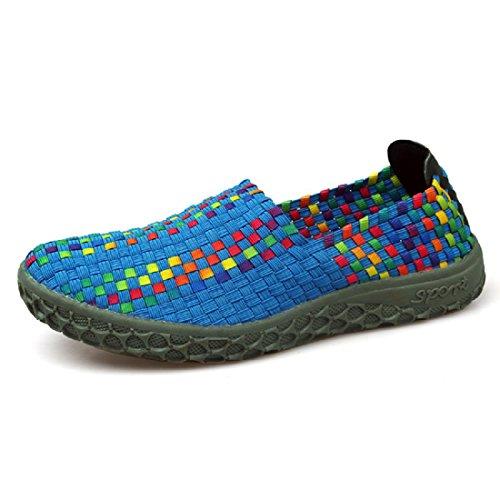 Hommes Chaussures décontractées Été Mode portable Respirant Tisser Des sandales colorful blue