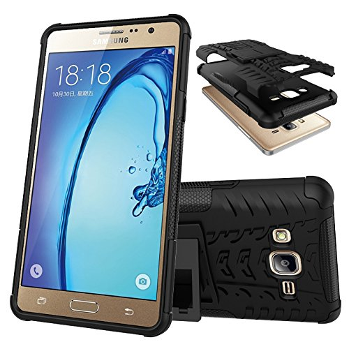 Samsung Galaxy On7 - Stylish Heavy Duty Hard Back Armor Shock Proof Case Cover with Back Stand Feature & Free Screen Protector by Accessories Collection  available at amazon for Rs.199