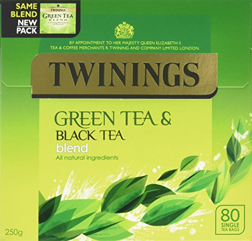 Twinings Green Tea And Black Blend x80 Tea Bags, 250g