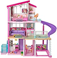 Barbie Dreamhouse Dollhouse with Wheelchair Accessible Elevator, Pool, Slide and 70 Accessories Including Furn