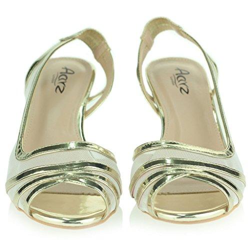 Femmes Dames Soir Mariage Fête Bal de promo De mariée Slingback Faible Talon de chaton Peep Toe Des sandales Chaussures Taille Or