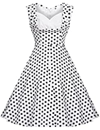 Zarlena Damen Rockabilly Kleid Polka Dots Punkte 50'er Cocktailkleid Abendkleid
