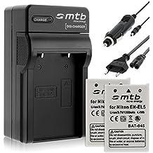 2 Baterías + Cargador EN-EL5 para Nikon P3 P4 P500 P510 P520 P5000 P5100 S10..