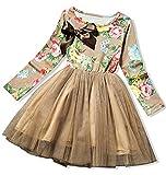 AGOGO Mädchen Kinder Kleider Festliche Brautjungfern Kleid Prinzessin Gedruckt Bowknot Formale Casual Dress Pageant Größe G. 92 98 104 110 116 128 134 140 (Braun, 5-6 Jahre alt)