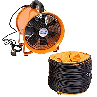 Industrial Extractor Portable Ventilator Air Axial Metal Blower Commercial Exhaust Workshop Ventilation Fan With 5 meter Duct (16 Inches With Duct )