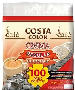 Café Pads Costa Colon Crema régulier, café emballé 100 pièces individuellement.