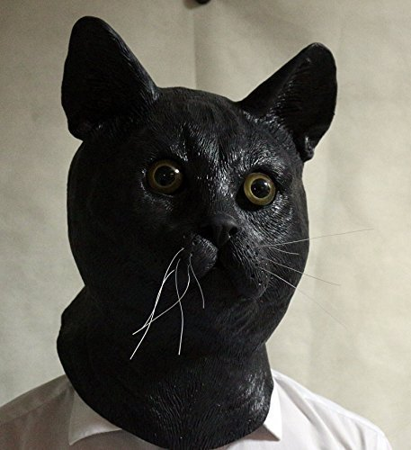 The Rubber Plantation TM 619219293525 schwarz Latex Katze Maske Feline gestromt Tom Animal voller Kopf Halloween-Kostüm Zubehör, Unisex, ONE SIZE