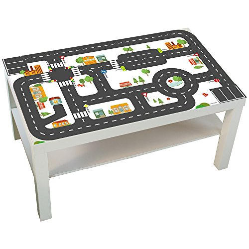 Limmaland Möbelaufkleber Straßen - passend für IKEA Lack Couchtisch - klein - Kinderzimmer Spieltisch - Möbel Nicht inklusive