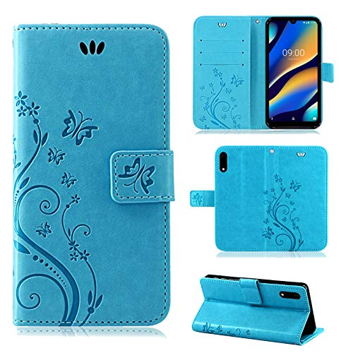 betterfon | Wiko View 3 Lite Hülle Flower Case Handytasche Schutzhülle Blumen Klapptasche Handyhülle Handy Schale für Wiko View 3 Lite Blau