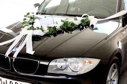 Autoschmuck Weiß Autodeko Hochzeit Autogirlande Autoschleifen Girlande Deko