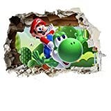 Customise4U Super Mario Wand-Zertrümmern Kinder Wandaufkleber Wandüber Wall Art Wand Tattoo (Mario Smash 70cm)