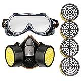 A-szcxtop getgastro respirador Antigas máscara, PINTURA mascarilla anti-polvo químico, con 4 piezas filtros adicionales